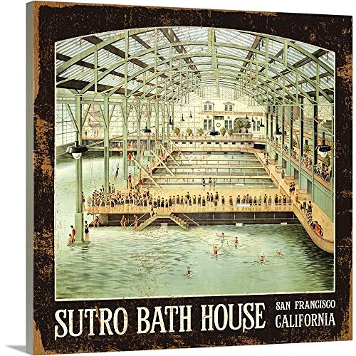 - Sutro Bath House San Francisco Vintage Advertising Poster Canvas Wall Art Print, 16