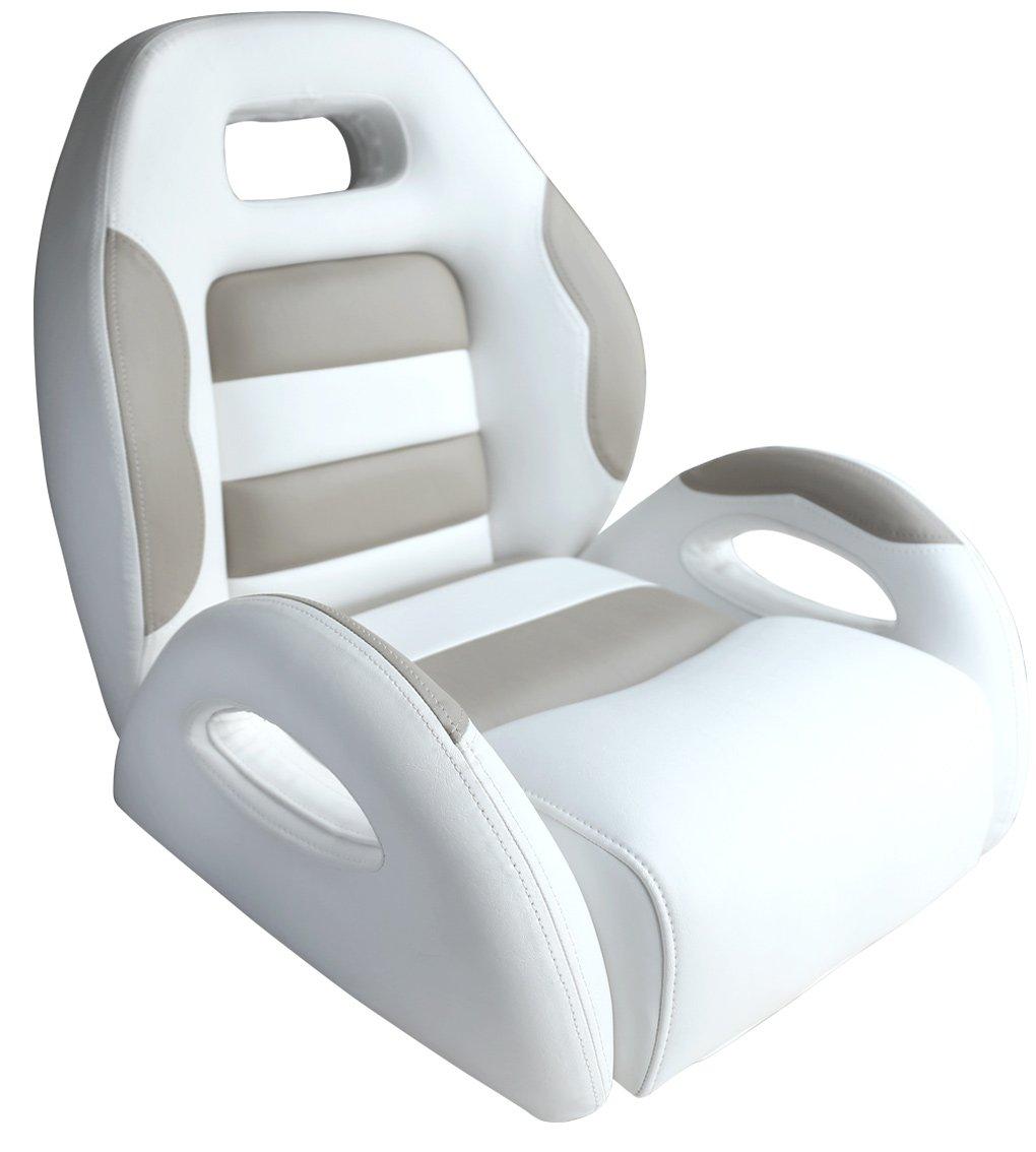 Leader Accessories Pontoon Captains Bucket Seat Boat Seat White/Taupe by Leader Accessories