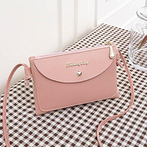 Bolso mensajero bolsos mujeres las del de la cuero de Majome de bolso hombro Crossbody regalo Pink PU de simples ocasionales la cremallera del muchacha de la de xEgwdX