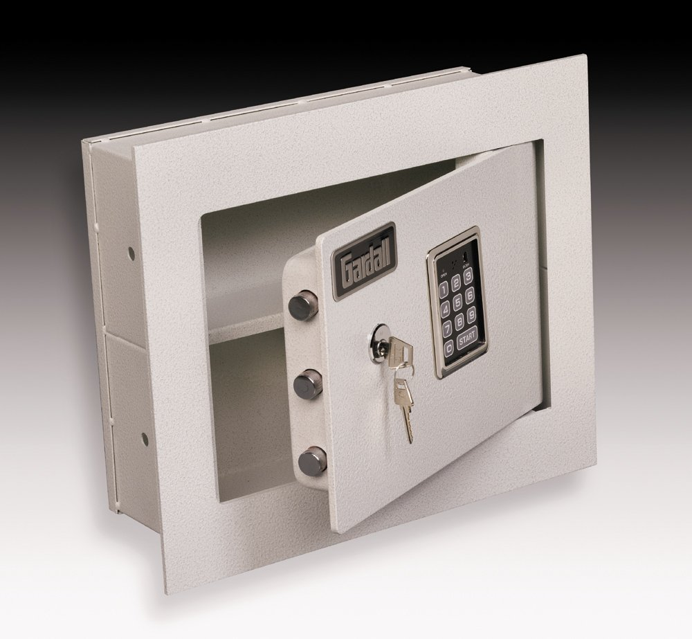 Gardall WS1314-T-EK 4'' Concealed Wall Safe with Single Key and Electronic Lock, Tan by Gardall