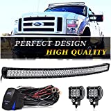 TURBOSII 54 Inch Curved Led Light Bar Spot Flood Combo Offroad Bumper Windshield Roof Light + 4 inch LED Pods + Rocker Switch Wiring for Jeep Wrangler Jk ATV RZR Truck RV Dodge Ram UTV 4X4 Chevy Boat