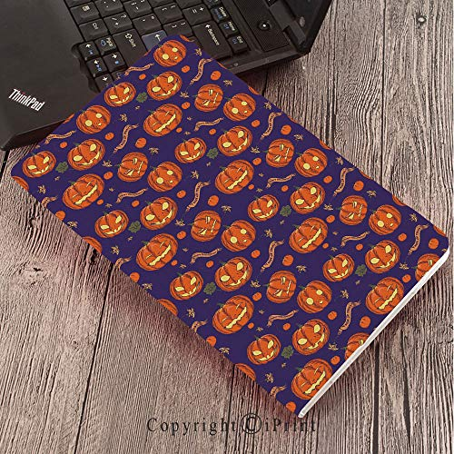 for Galaxy Tab S3 9.7″,TPU Silicone Case for Samsung Galaxy Tab S3 T820 / T825,Halloween,Pumpkins Pattern Different Face Expressions Happy Angry Scary Puzzled,Orange Indigo -