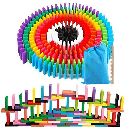AISFA 적목 도미노 교육 완구 12 컬러 240 장 나무 다채로운 어린이 생일 선물 나란히 용 도구 수납 가방 세트