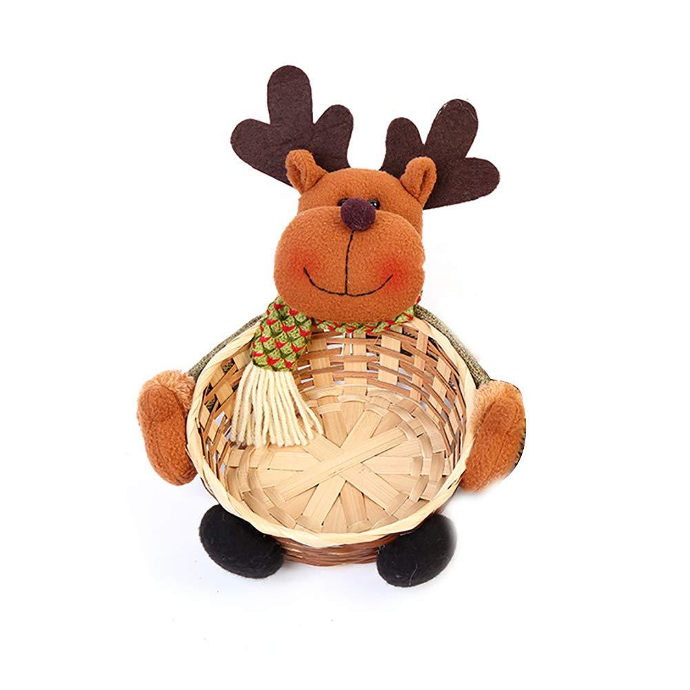 Ouken Natale Candy storage cestino di bambù decorazione Cestino (pupazzo di neve)