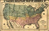Civil War Map Reprint: Bacon's military map of the United States shewing the forts & fortifications.