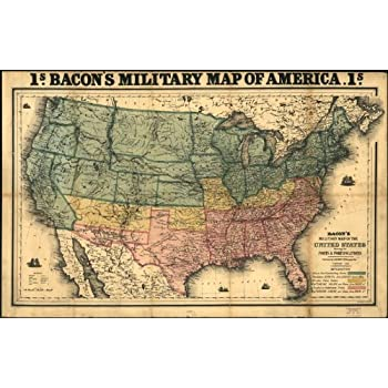 amazon com civil war map reprint bacon s military map of the