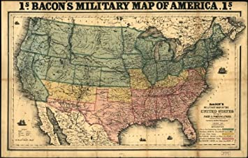 Amazoncom Civil War Map Reprint Bacons Military Map Of The - Map of the us in the civil war
