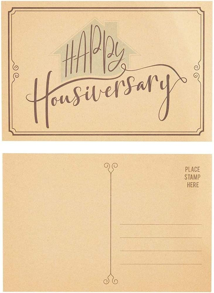 Paper Junkie Happy Housiversary Postcards, Kraft Cards (50 Count) 6 x 4 Inches