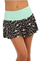 Show No Love Women's Summer League Doubles Tiered Skirt in seafoam/blk-wht