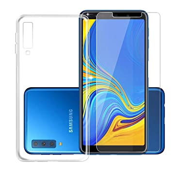 finest selection a4b35 4e5fc Galaxy A7 2018 Transparent Case + Tempered Film Glass Screen Protector -  Silicone Soft TPU Cover Shell for Samsung Galaxy A7 2018 (6.0