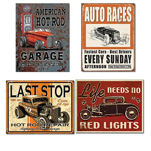 Vintage Hot Rod Garage Tin Signs Bundle - Legends American Hot Rod, Vintage Auto Races, Last Stop Hot Rod Repair and Life Needs No Red (Hot Rod Garage)