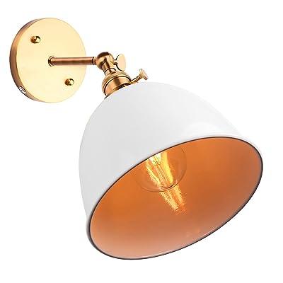 ABEDOE Lampe murale à LED ABEDOE Swing Arm E27 Rétro Wall Mount Sconce Éclairage avec interrupteur - Rotatable Bell-Shaped - Blanc