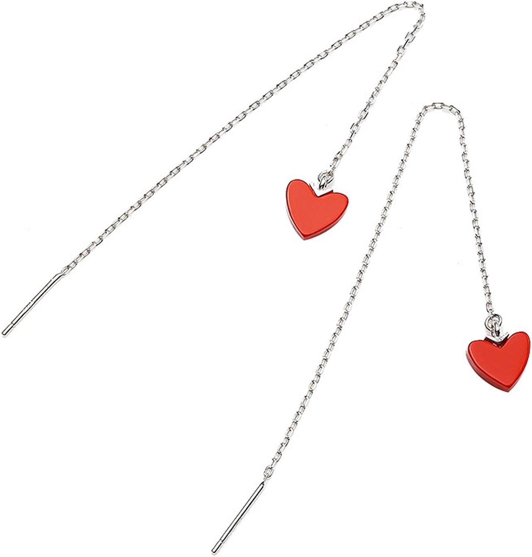 Epinki Moda Mujer Accesorios Plata de ley 925 Mujer Colgantes Pendientes Rojo Corazón Pendientes