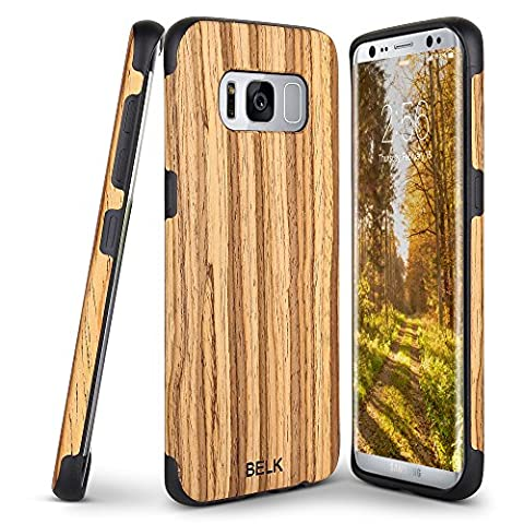 Galaxy S8 Case, BELK [Slim to Beat] Soft Wood Non Slip Premium Rubber Bumper [Thin Light] Flexible TPU Back Cover, Shock Resistant Wooden Armor for Samsung Galaxy S8 - 5.8 inch, (Snap On Cell Phone Cases)