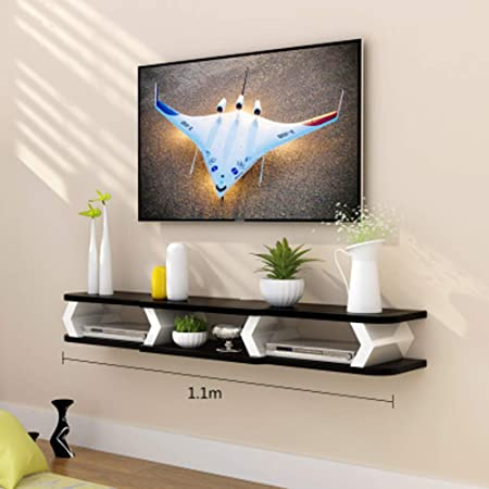 BAIYIQ - Mueble de Pared Flotante para TV, Estante de Pared para TV, decoración de Pared de Fondo de TV, Consola Multimedia, Soporte Flotante para TV, Consola de Estante, Material, B, Size: