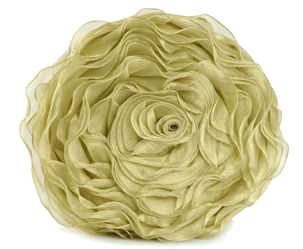 Fennco Styles Hayley Rose Chiffon Decorative Throw Pillow, Filler Included, 16-inch Round