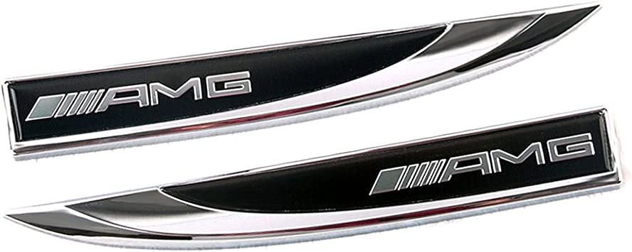 YIKA New 3D Car Logo Car Emblem Chrome Stickers Decals Badge Labeling for Mercedes Benz AMG(Black)
