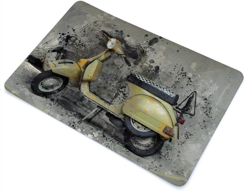 Cheyan Vespa Motorrad Roller gelb Vintage Retro Metallschild Blechschild Aluminiumschilder 8x12 Farbe1 20x30cm