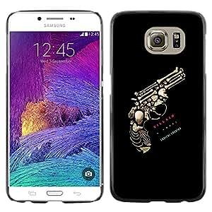 Paccase / SLIM PC / Aliminium Casa Carcasa Funda Case Cover - Gun Bones Kill Black Death Skull Text - Samsung Galaxy S6 SM-G920