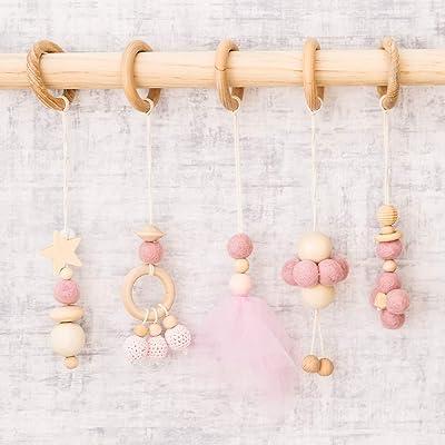 Let's Make Baby Play Gym Toys Set of 5-- Hanging Wooden Toys| Organic Nursing Environmental Sense Sensory Toys |Modern Baby Toys: Toys & Games