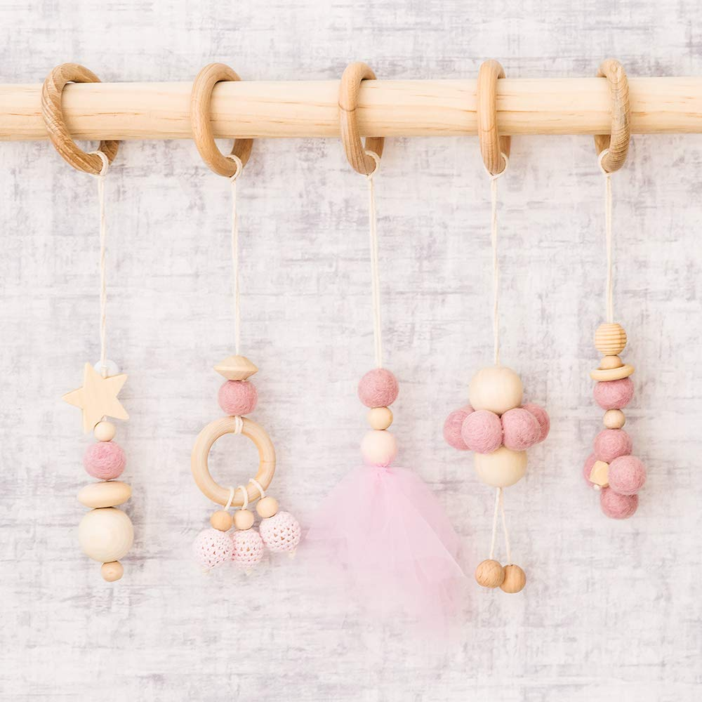 Let's Make Baby Play Gym Toys Set of 5-- Hanging Wooden Toys| Organic Nursing Environmental Sense Sensory Toys |Modern Baby Toys by let's make