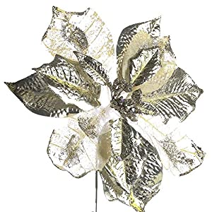 Factory Direct Craft® Trio of Rich Shimmering Artificial Poinsettia Floral Stems for Holiday Decor, Centerpieces, and Displays 51