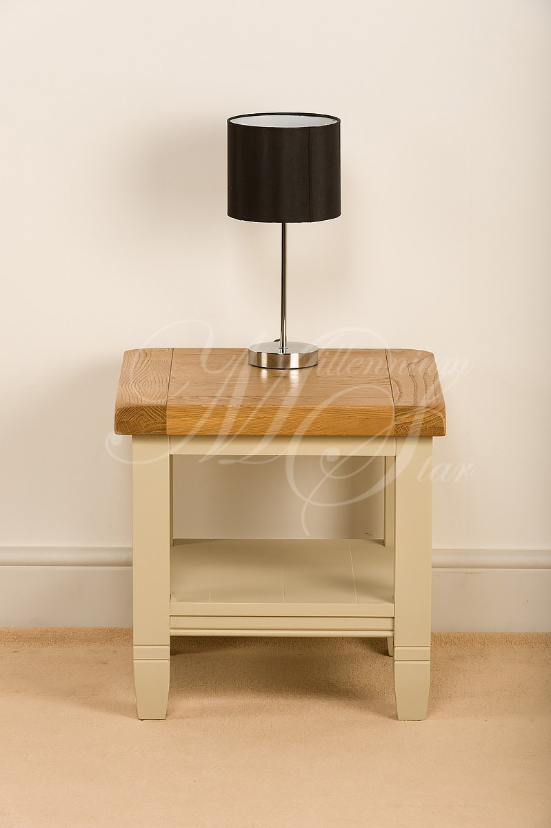 Wonderful CREAM PAINTED SOLID WOOD CHUNKY RUSTIC OAK SIDE LAMP COFFEE TABLE WITH  SHELF: Amazon.co.uk: Kitchen U0026 Home