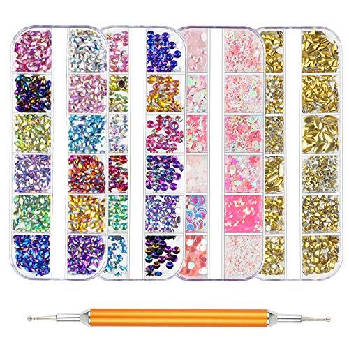 (Nail Art Rhinestones - 4500 Pieces Nail Gems Nail Art Rhinestones Kit Decorations With Nail Dotting Pen for Nail Art Decorations Supplies (4 Boxes))