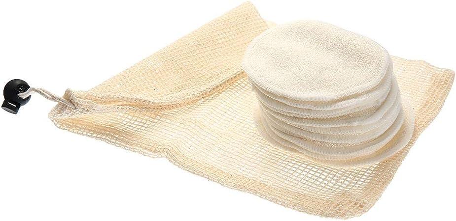 Volwco 12Pcs Almohadillas Desmaquillantes Reutilizables Discos Desmaquillantes De Bambú Y Algodón, Almohadillas Cosméticas De Maquillaje Lavables Desmaquillador Make Up Limpieza Facial Pad: Amazon.es: Deportes y aire libre