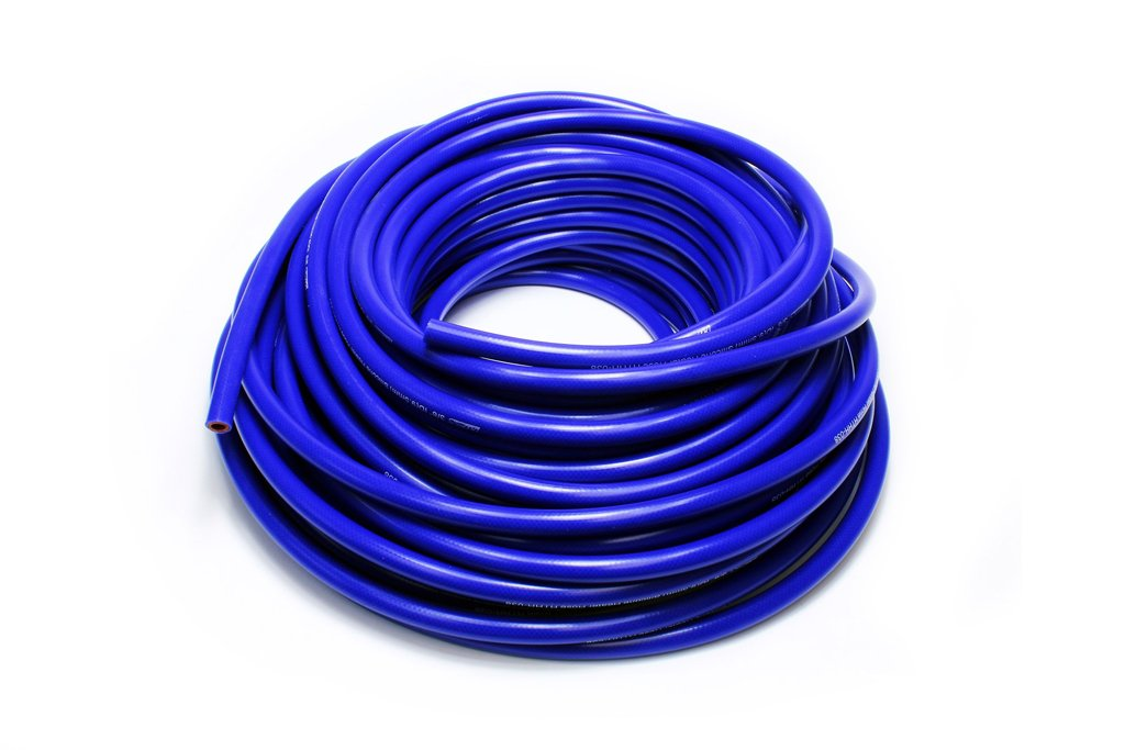 HPS 5/8'' ID Blue high temp reinforced silicone heater hose 25 feet roll, Max Working Pressure 70 psi, Max Temperature Rating: 350F, Bend Radius: 3'' by HPS Performance