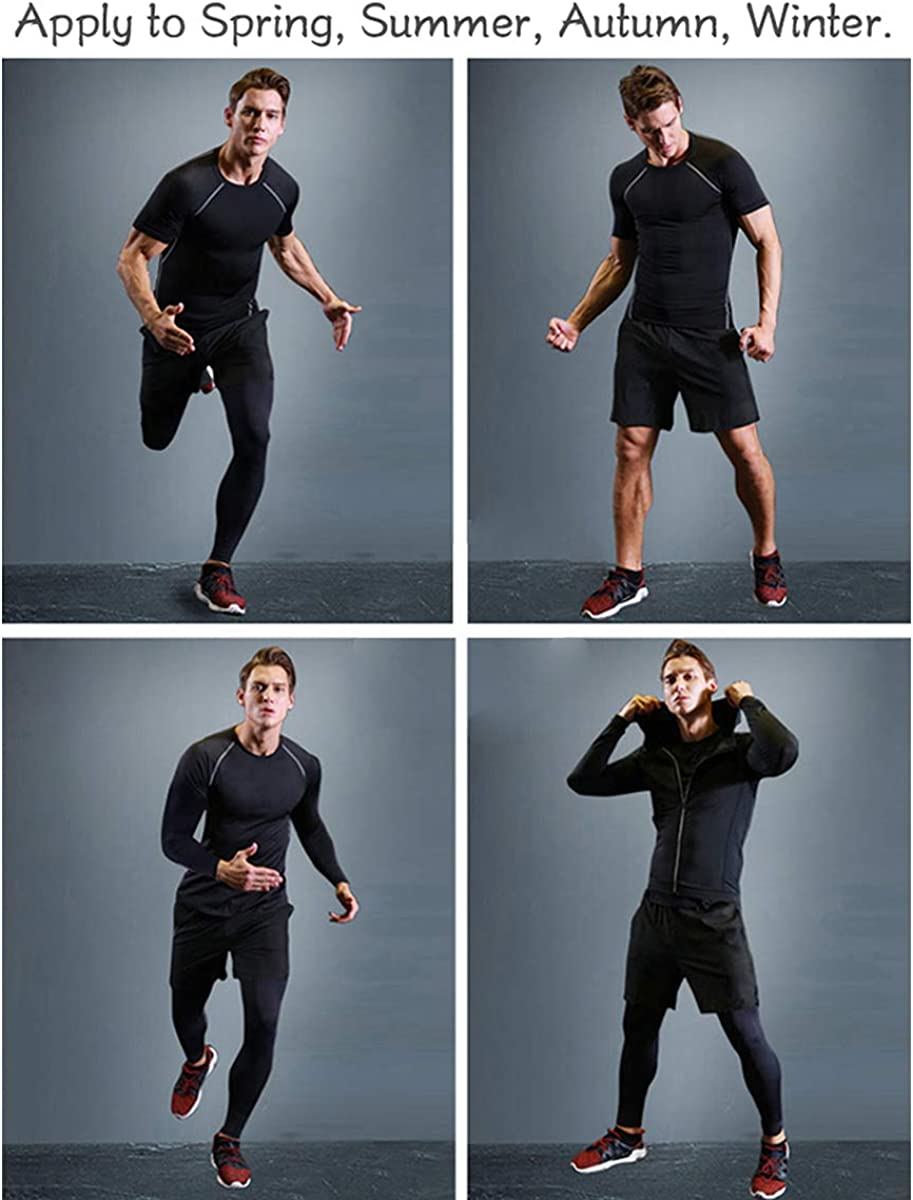 Boomcool 5PCS //Mens Workout Outfit Set Compression Pants Shirt Top Long Sleeve Jacket