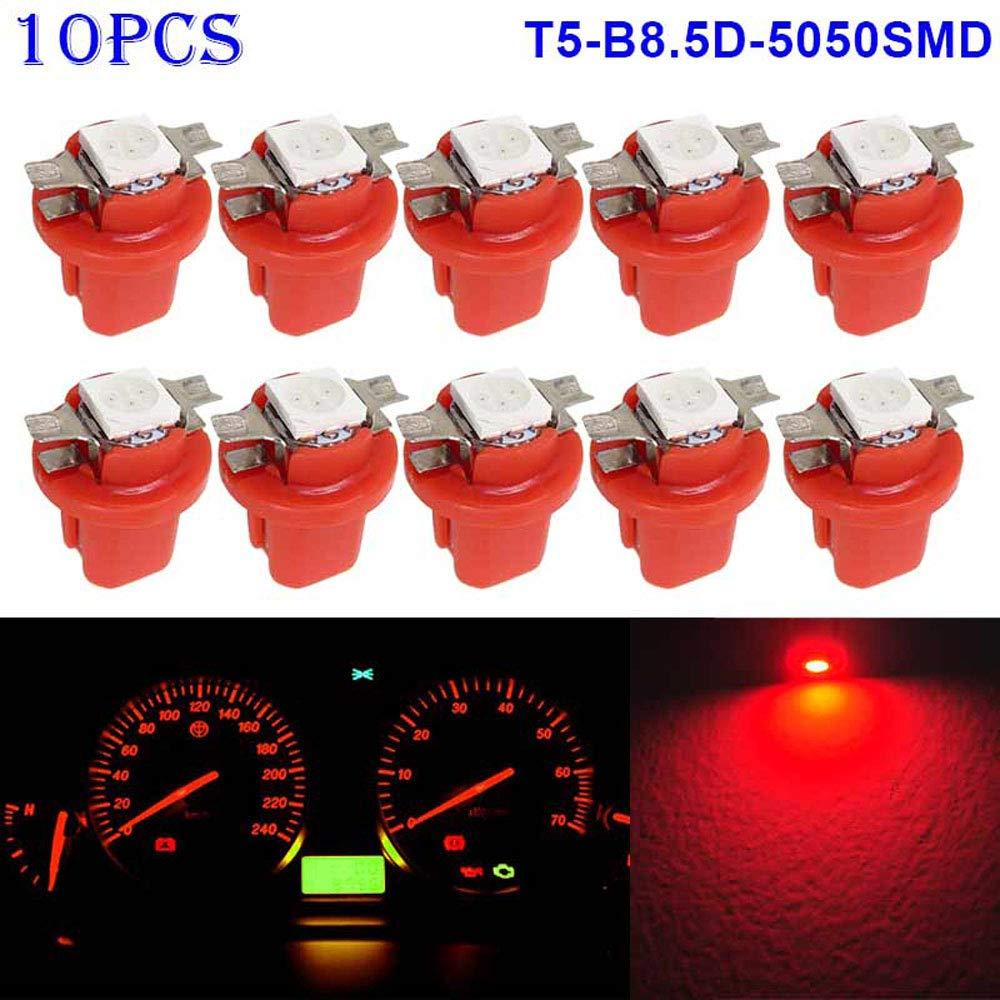 Turbobm 10pcs T5 B8.5D 5050 LED 1 SMD Indicador L/ámparas del Interior del Tablero de Instrumentos del Coche Bombillas de luz del Interior del autom/óvil 12V Bombillas