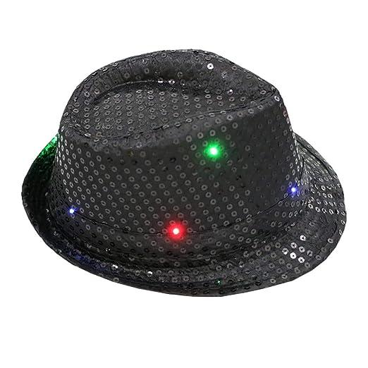 8ff9fd7184995 FEDULK Unisex Light Up Led Fedora Cap Colorful Sequin Fancy Dress Dance  Party Women Men Hat(Black