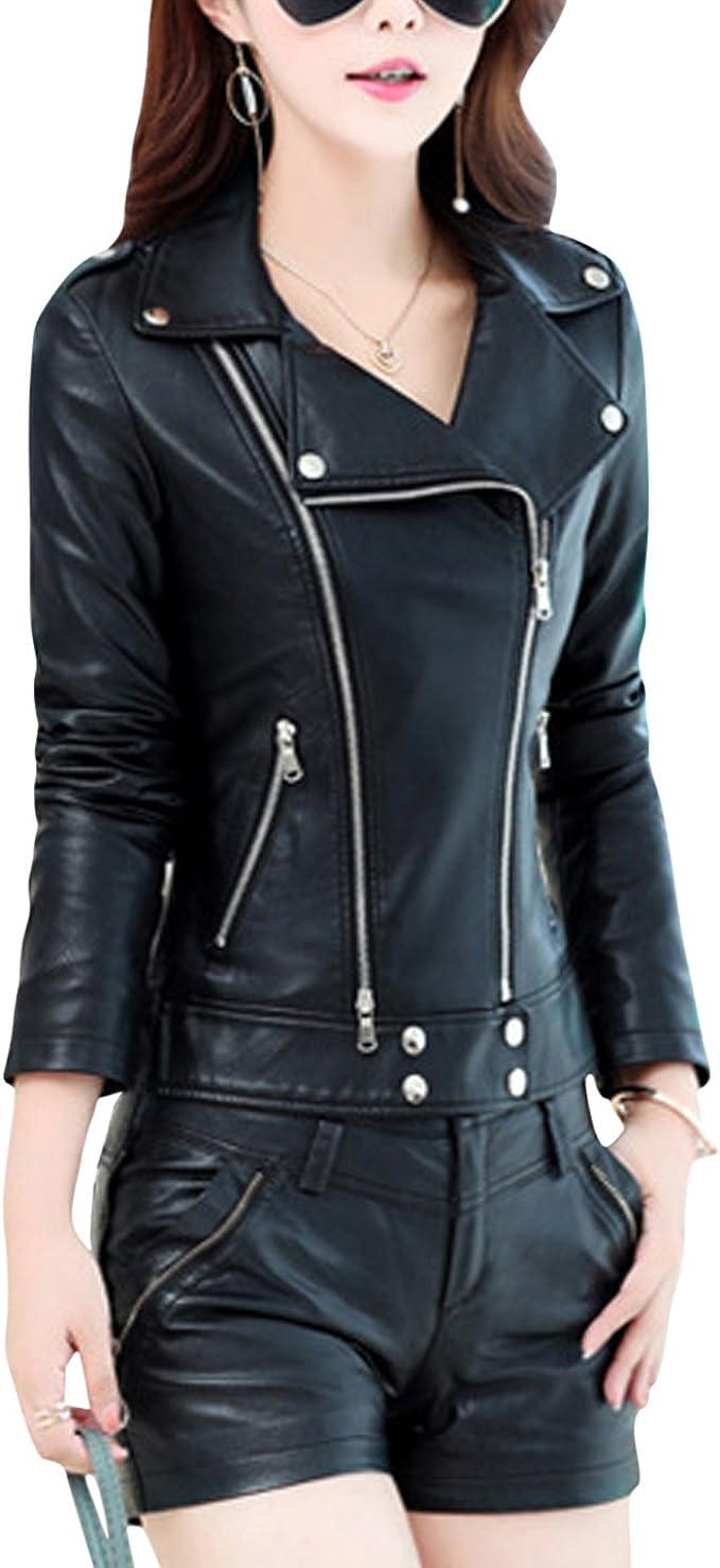 HUPOO Mens Casual Cool Lapel Collar Slant Zip Pleated Outerwear Moto Biker PU Jacket Coats