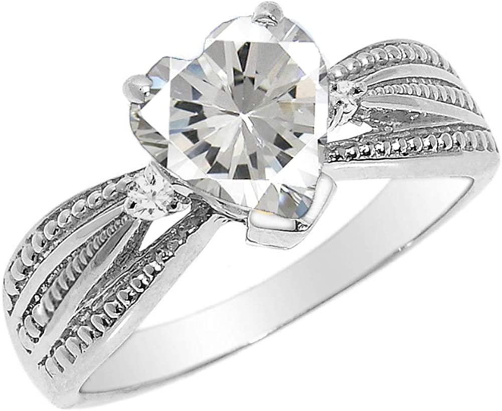 Dazzling Diamond and Heart-Shaped Personalized Birthstone Proposal Ring in Sterling Silver