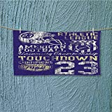 Absorbent Towel SportsFootball College Version Athletic Championship Apparel Blue White Yellow Soft Cotton Durable L35.4 x W11.8 inch