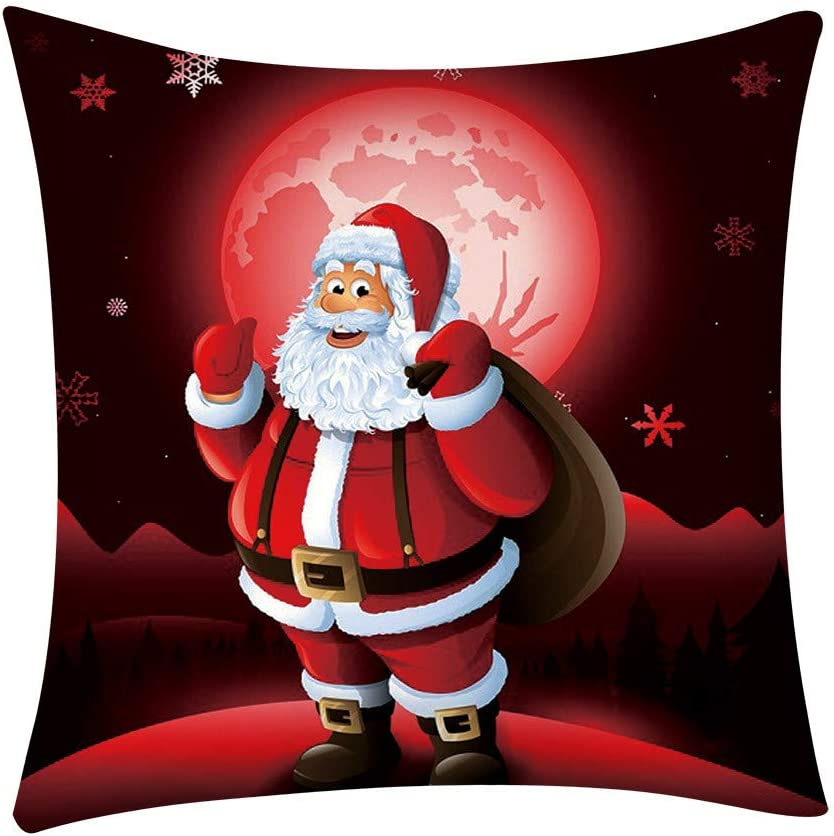 AMhomely Christmas Decorations Sale,Happy Christmas Pillow Cases Linen Sofa Cushion Cover Home Decor Pillow Case Merry Christmas Decorative Xmas Decor Ornaments Party Decor Gifts for Kids and Adults