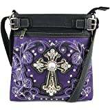 Justin West Embroidery Floral Glitter Bling Rhinestone Cross Shoulder Concealed Carry Handbag Purse Trifold Wallet (Purple Messenger ONLY)
