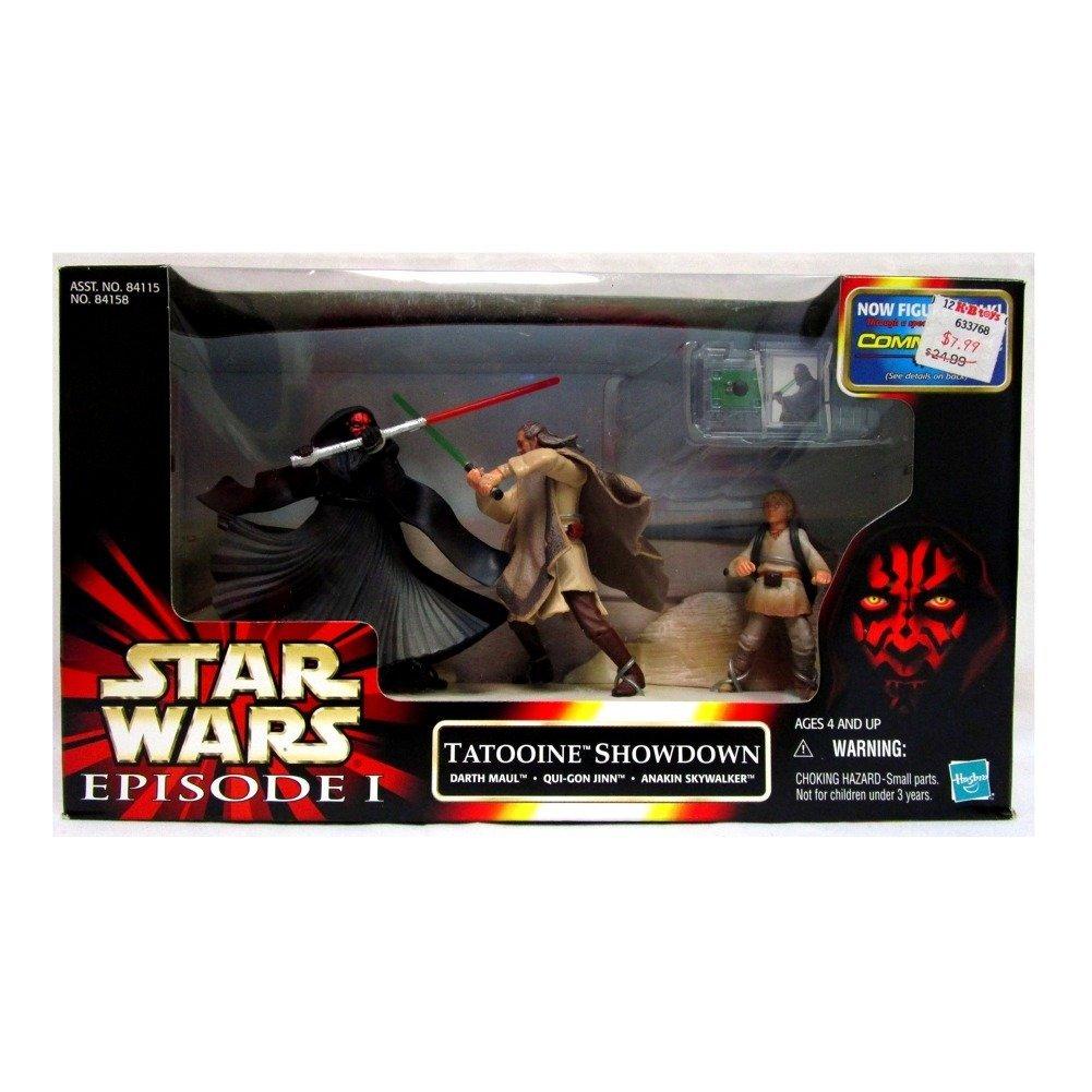 Star Wars Episode 1  Tatooine Showdown  Darth Maul Qui=Gon-Jinn /& Anakin Mib Hasbro 84158