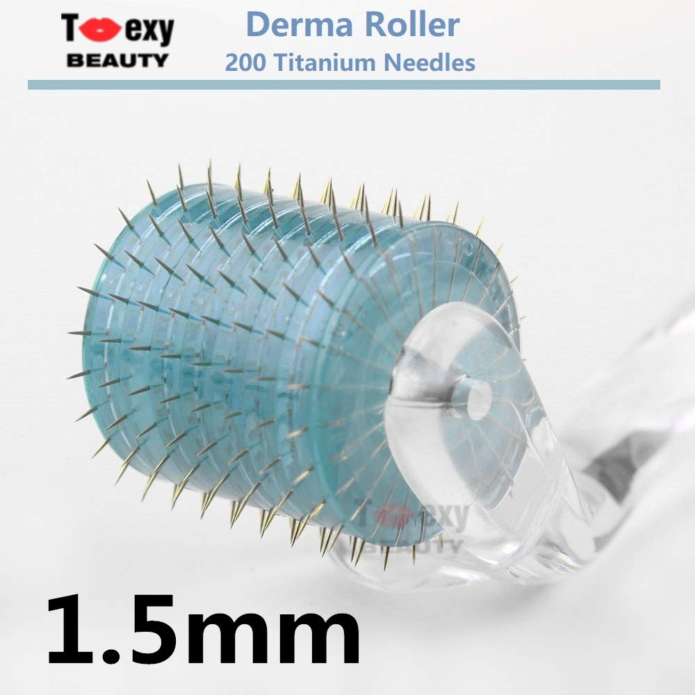 1.0mm, Micro Needles Derma Roller 200 Titanium Tips for Skin Care Beauty Tool, Anti Aging Wrinkles Hair Loss Acne Scars Toexy Beauty