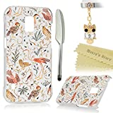 (Not for S5)Galaxy S5 Active Case - Mavis's Diary Colorful Fashion Pattern Clear Cover Hard PC Case for Samsung Galaxy S5 Active SM-G870A with 3D Cute Dust Plug & Feather Pen - Lovely Birds