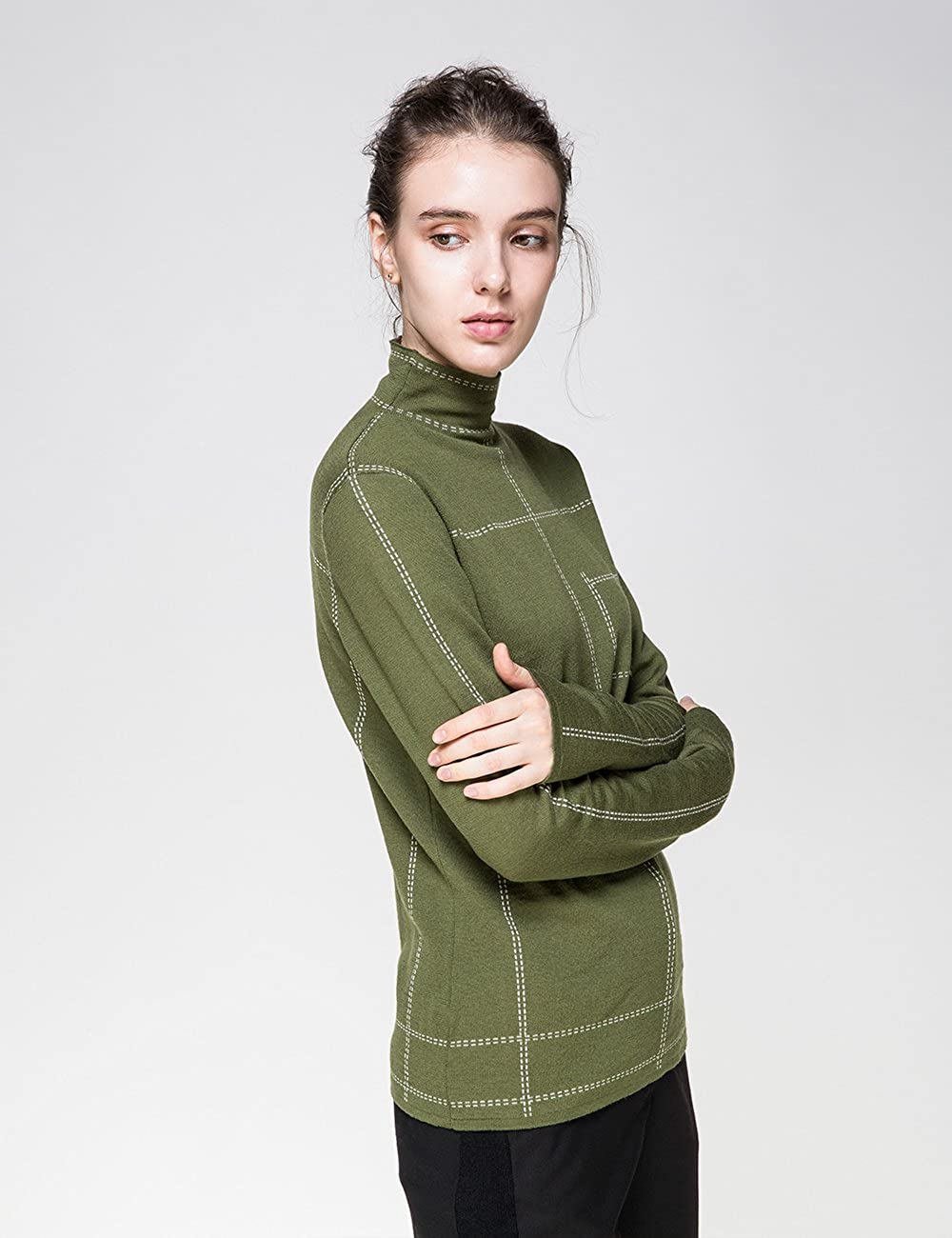 Cas-Lady/'s 100/% Pure Wool Long Sleeve Pullover Sweater