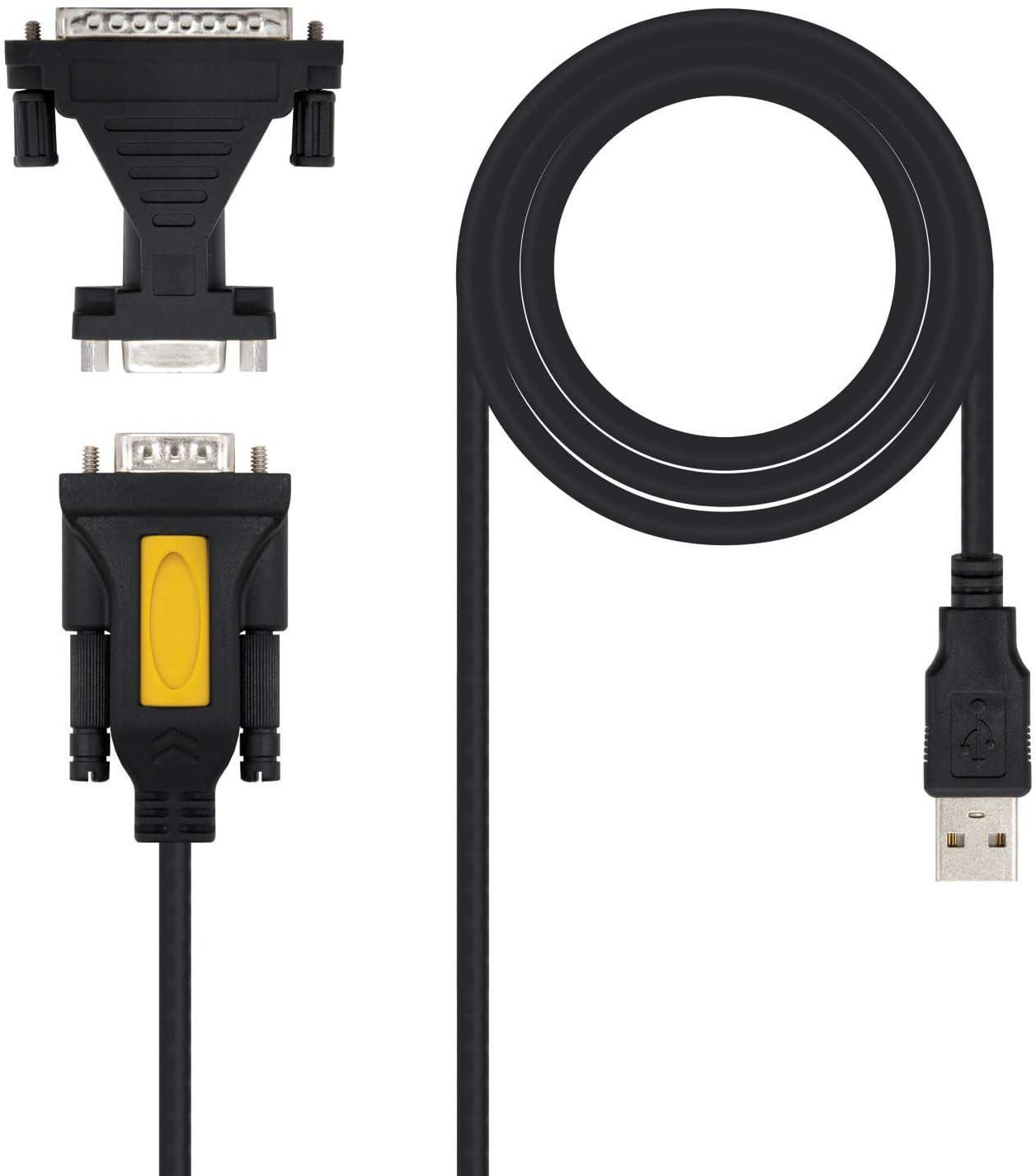 NANOCABLE Acer 10.03.0002 - Conversor USB a Serie para Impresora, Tipo A/M-RS232 DB9/M DB25/M, Macho-Macho, Negro, 1.8mts