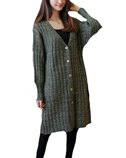 8a784cbb9 YOURNELO Women s V Neck Simple Vertical Pattern Mid -Long Knit Sweater  Cardigan (Army Green