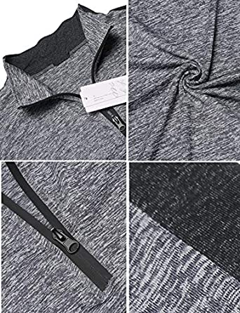 JINIDU Mens Long Sleeve Active 1//4 Zip T Shirt Quick Dry Sports Tops Cycling Jersey Running Training Gym Pullover