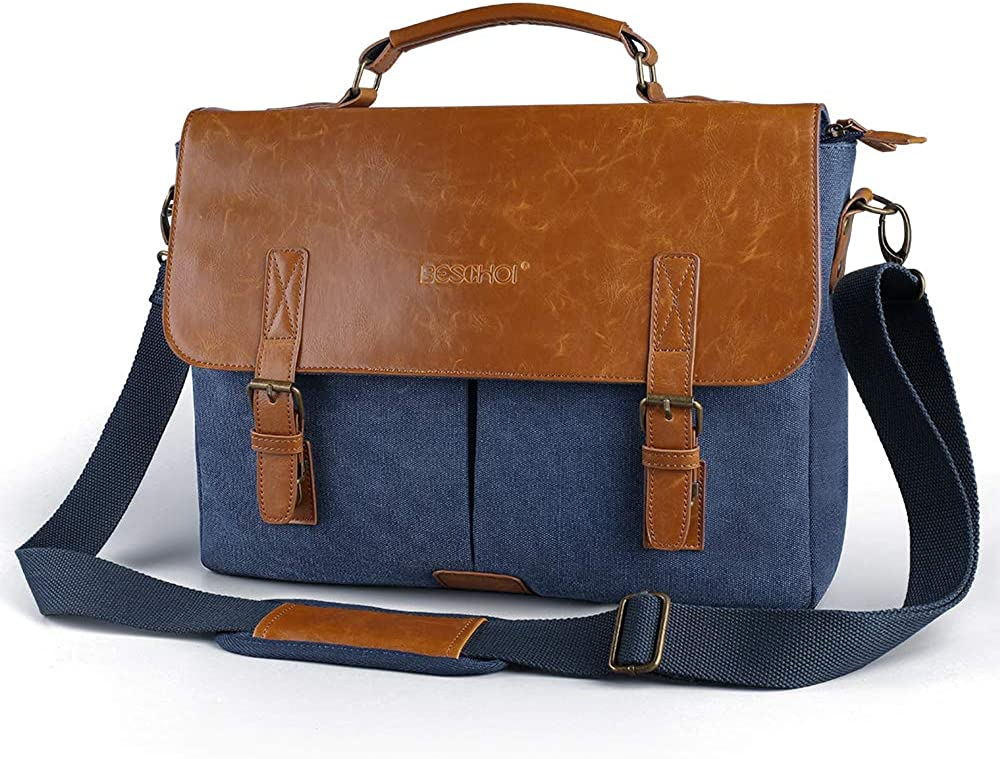 "Beschoi 14"" Laptop Messenger Bag Waterproof Handmade Leather Vintage Canvas Briefcase,Shoulder Bag,Satchel Bag"