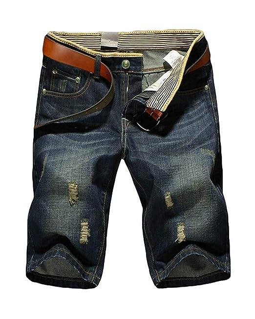 Minetom Hombre Jeans Pantalones Cortos Vaqueros Militar ...