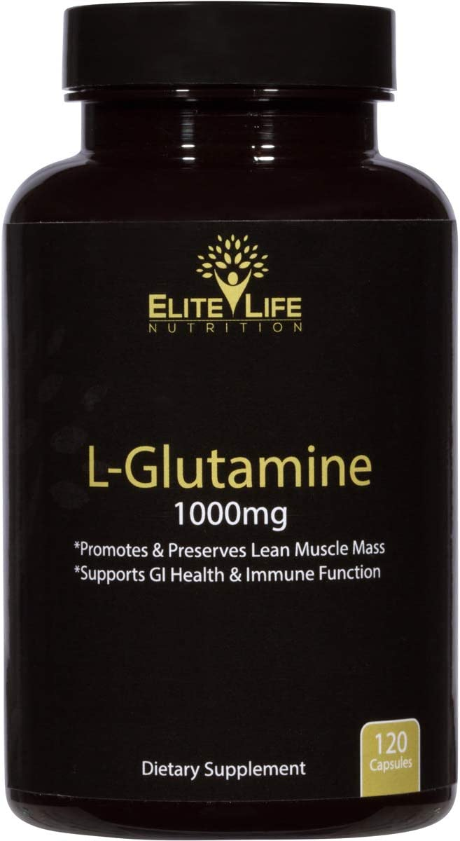 L-Glutamine 1000mg – Best L Glutamine Supplement – Pure, Natural, and Vegan Amino Acid – Promotes and Preserves Lean Muscle Mass – Supports GI Health and Immune System Function – 120 Capsules