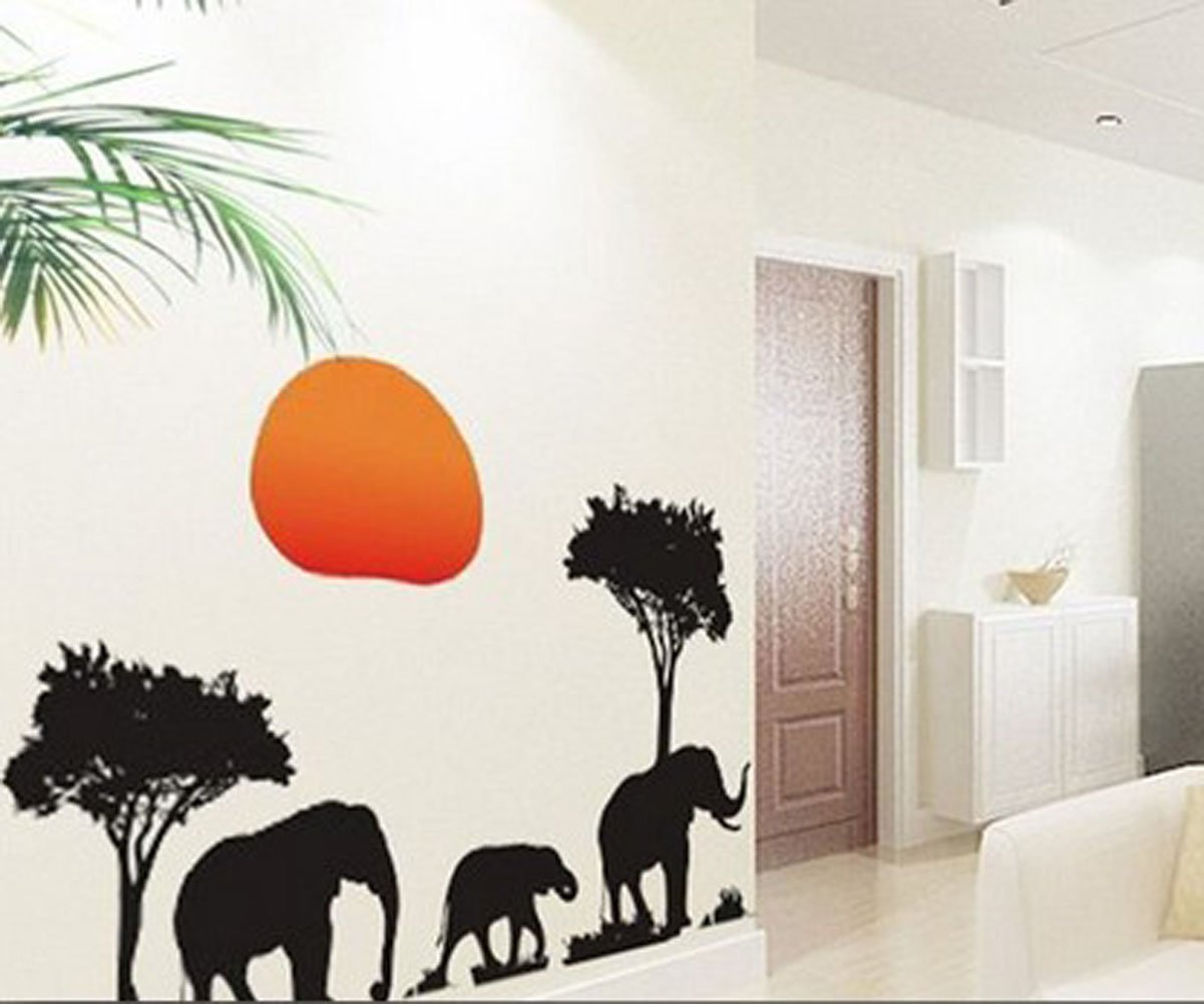 Amazon african elephants trees sunset removable vinyl wall amazon african elephants trees sunset removable vinyl wall stickers mural home art decal kids room decor home kitchen amipublicfo Choice Image
