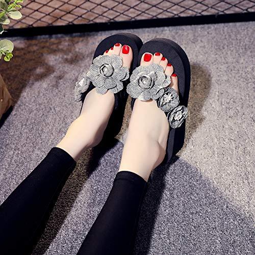 chaussures Fleurs pour compensées fantaisie Tongs gris pantoufles plage antidérapantes Jydan Tongs de 39 femme 6qIaxvnH